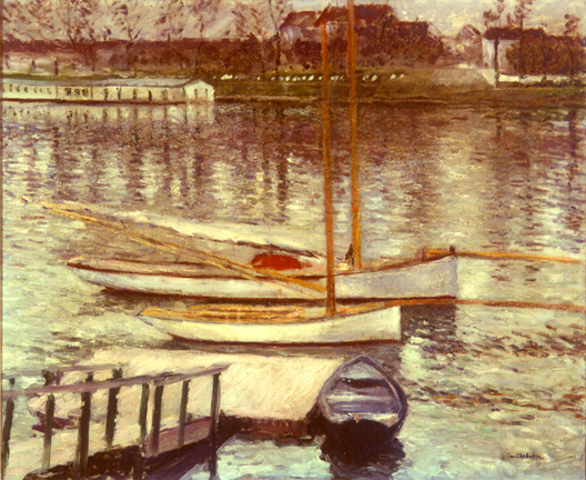 Gustave Caillebotte, Voiliers au Mouillage sur la Seine, à Argenteuil, 1883, Oil on canvas, Gift of Herman H. Levy O.B.E. Collection of McMaster University.
