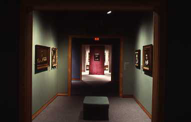 installation view of fourth floor galleries showing three wall colours