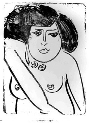 Ernst Ludwig KIRCHNER, German, 1880-1938  Kokotte / Coquette, 1910. Lithograph, Purchase, Galerie Wolfgang Ketterer, Munich, McMaster University Collection