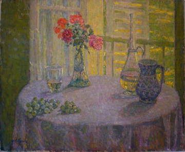 Henri Le Sidaner, Le Bouquet Devant la Fenetre, after conservation treatment