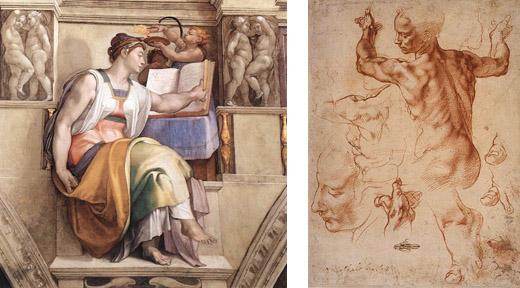 Michelangelo's Erythraean Sibyl and Libyan Sibyl Study