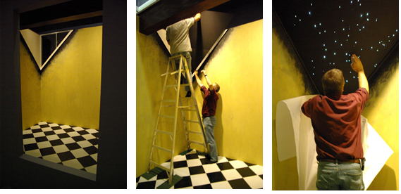 three photos of people building room in gallery