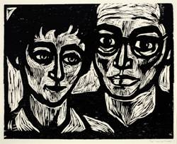 Robert Langstadt dual portrait woodcut
