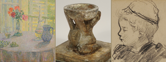 Image details, from left: Henri Le Sidaner, Le Bouquet Devant la Fenêtre, n.d., oil, Gift of Herman Levy, Esq., O.B.E., Henri Gaudier-Brzeska,Maquette for Bird Bath, 1914, Levy Bequest Purchase, Mary Cassatt, Young Girl, c. 1878 - 1890, pencil, Gift of Herman Levy, Esq., O.B.E.