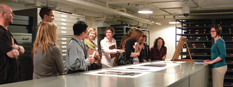 A tour group in the Paper Centre