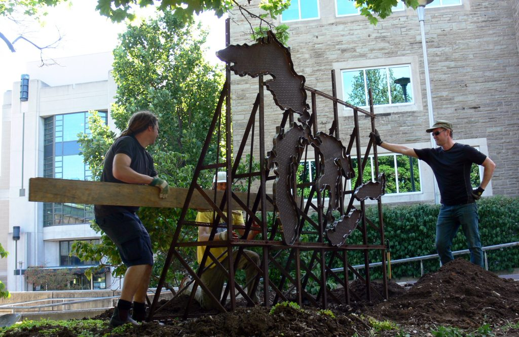 TH&B artists begin installation of Basin in McMaster Museum of Art Artist Garden today.