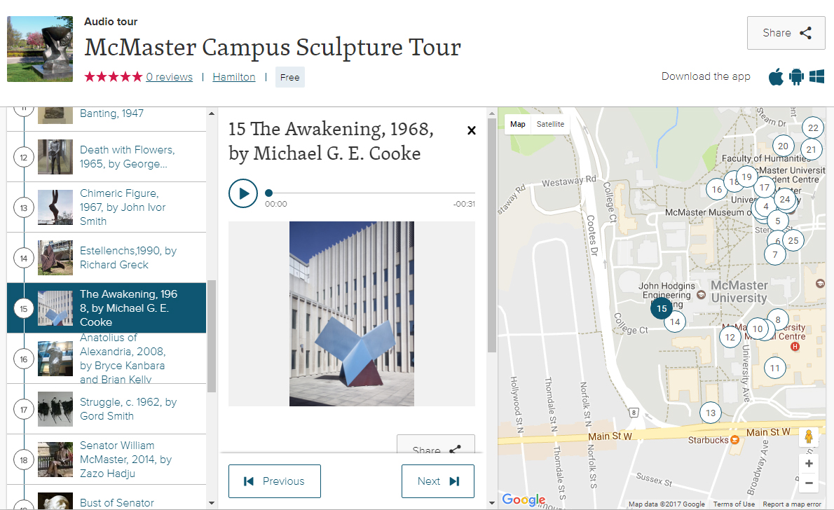 Screen Capture of the McMaster Campus Sculpture Tour