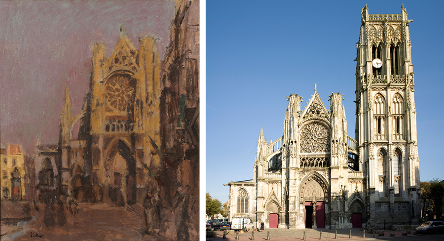 LEFT: Walter Richard Sickert (English, 1860-1942), Façade of St. Jacques, Dieppe c. 1902, Oil on canvas, Gift of Herman H. Levy. RIGHT: L'Eglise de St. Jacques, Dieppe. Photograph by PMRMaeyaert (Own work) [CC BY-SA 3.0 (https://creativecommons.org/licenses/by-sa/3.0)], via Wikimedia Commons