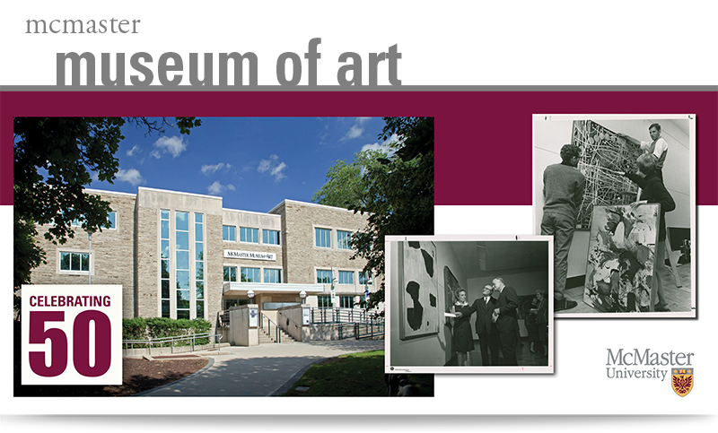 photo of McMaster Museum of Art 2017 building and archival photos of 1967 opening taken by Tom Bochsler