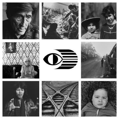 "Image details (clockwise from top left) Murray McKenzie, Native Studies, 1984; Dorothy Chocolate, Feast, Fort Franklin, N.W.T., 1981; Shelley Niro, Cousins, c. 1987; Brenda Mitten, Remember the Removal; Richard W. Hill (Sr.), Randy Hill; Joel Johnson, Rail Robot; Martin ""Akwiranoron"" Loft, Jessie – Micmac; Greg Staats, Mary, 1982. Collection of Indigenous and Northern Affairs Canada. Photographer: Lawrence Cook"