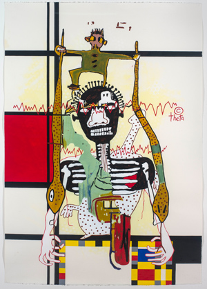 Gordon Bennett, Notes to Basquiat: To Dance on a Tightrope, 1998, acrylic on paper, 120 × 80cm. Collection: The Estate of Gordon Bennett, Brisbane. Photography: Carl Warner © The Estate of Gordon Bennett.