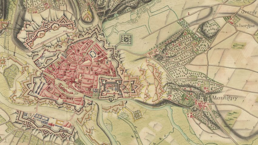 Detail from Carte des environs de Metz avec ses projets, 1742. McMaster University Rare Map Collection no. 9147