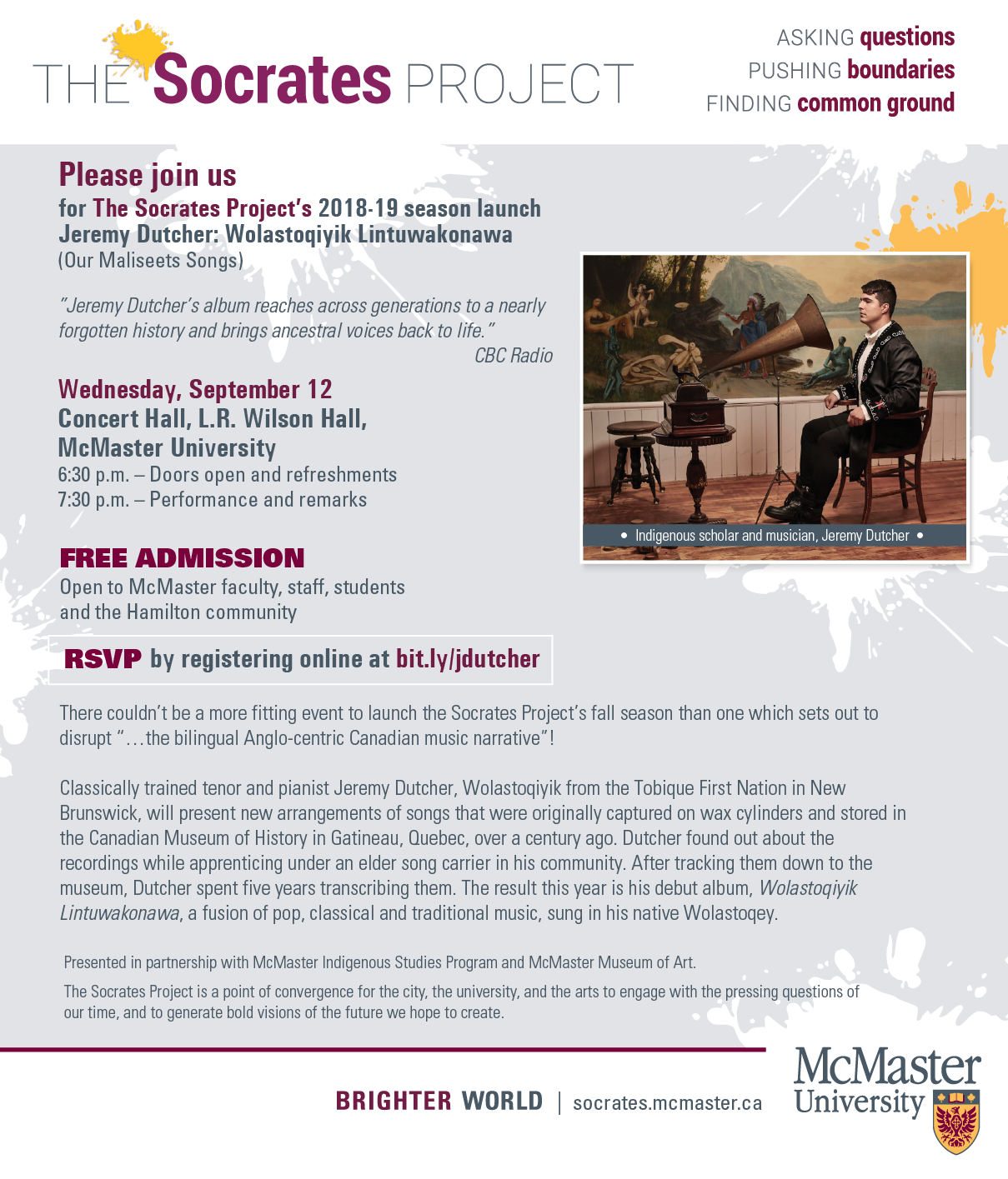 Socrates Project Presents Jeremy Dutcher at McMaster University in partnership with ISP and Museum of Art