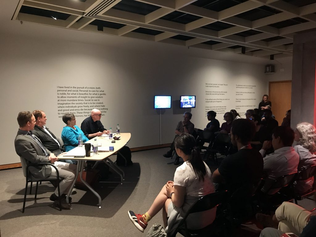 The Bertrand Russell Reading Room Panelists (from left): James Ingram, Neil McLaughlin, Virginia Aksan, and Bruce Barber. Sept 18/18 at McMaster Museum of Art
