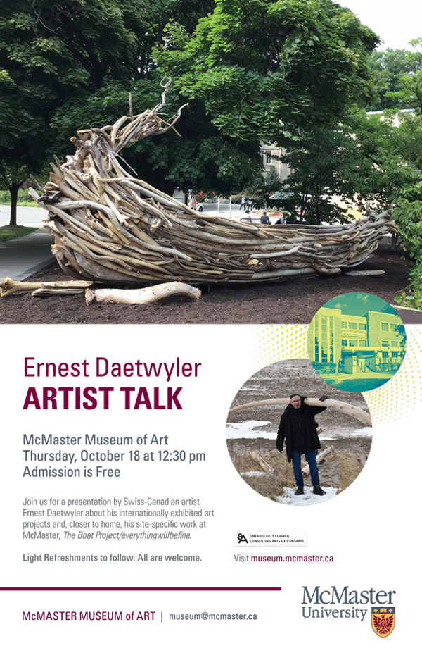 Artist Talk by Ernest Daetwyler at McMaster Museum of Art October 18
