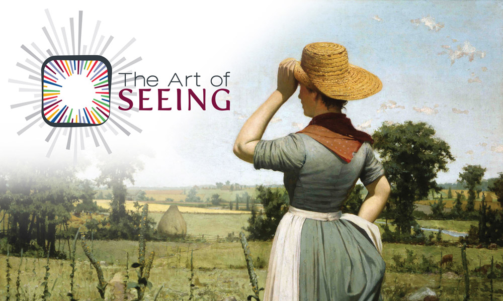 The Art of Seeing logo and George Agnew Reid's oil painting A Call to Dinner, 1886-1887, Collection of McMaster Museum of Art, McMaster University