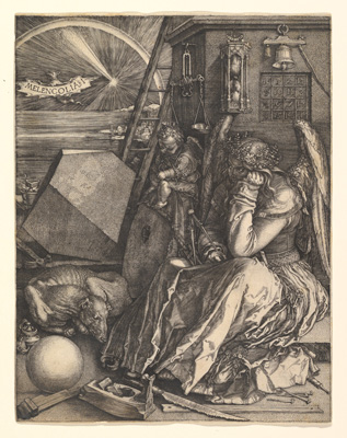 A reproduction of Albrecht Dürer's 1514 engraving Melencolia I. is on view in the exhibition.