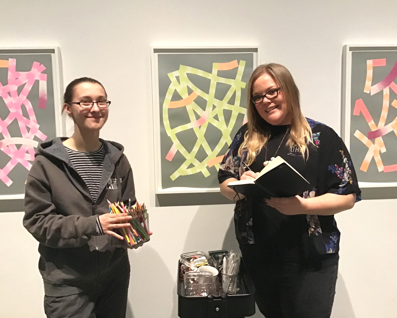 Evelyn Bohn and Amanda Jameson, McMaster University Studio Art students and new leaders of Sketching Thursdays McMaster Museum of Art