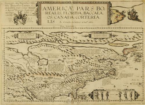 Cornelis de Jode (Flemish, 1568 – 1600), Americae Pars Borealis, 1593, Engraving on paper, Gift of Herman H. Levy