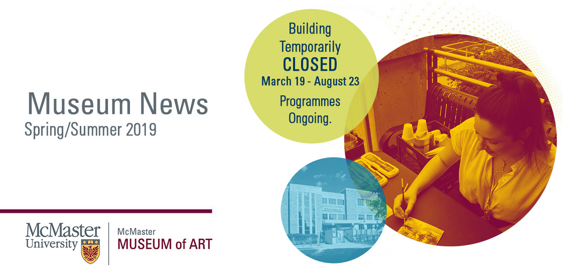 Summer 2019 Banner Image showing artist at work and front of building