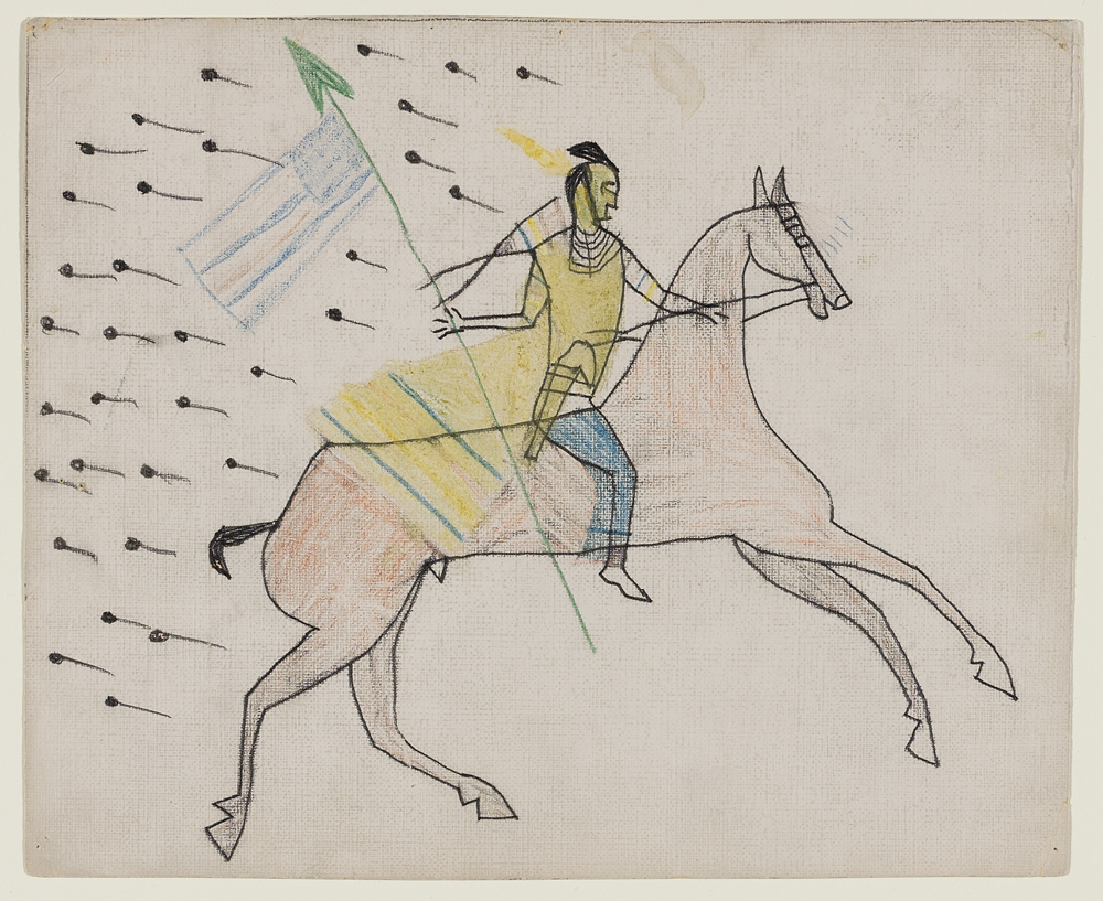 White Swan, Apsaalooke, 1851 – 1904, Untitled (White Swan Riding Through Gunfire), about 1890, graphite and colored pencil on wove canvas paper. Hood Museum of Art, Dartmouth: Mark Lansburgh Ledger Drawing Collection; Partial gift of Mark Lansburgh, Class of 1949; and partial purchase through the Mrs. Harvey P. Hood W'18 Fund, and the Offices of the President and Provost of Dartmouth College; 2007.65.93.