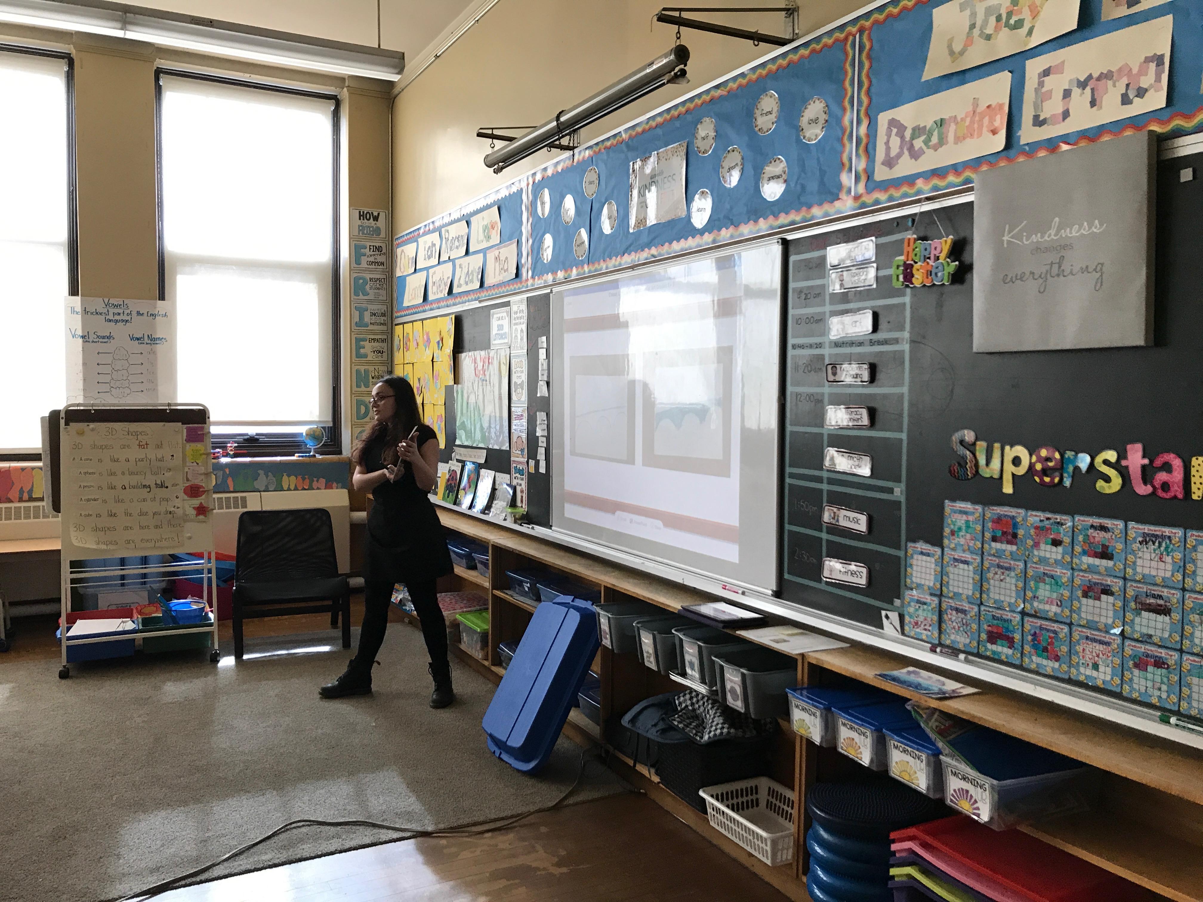 Teresa Gregorio in the classroom at AM Cunningham School