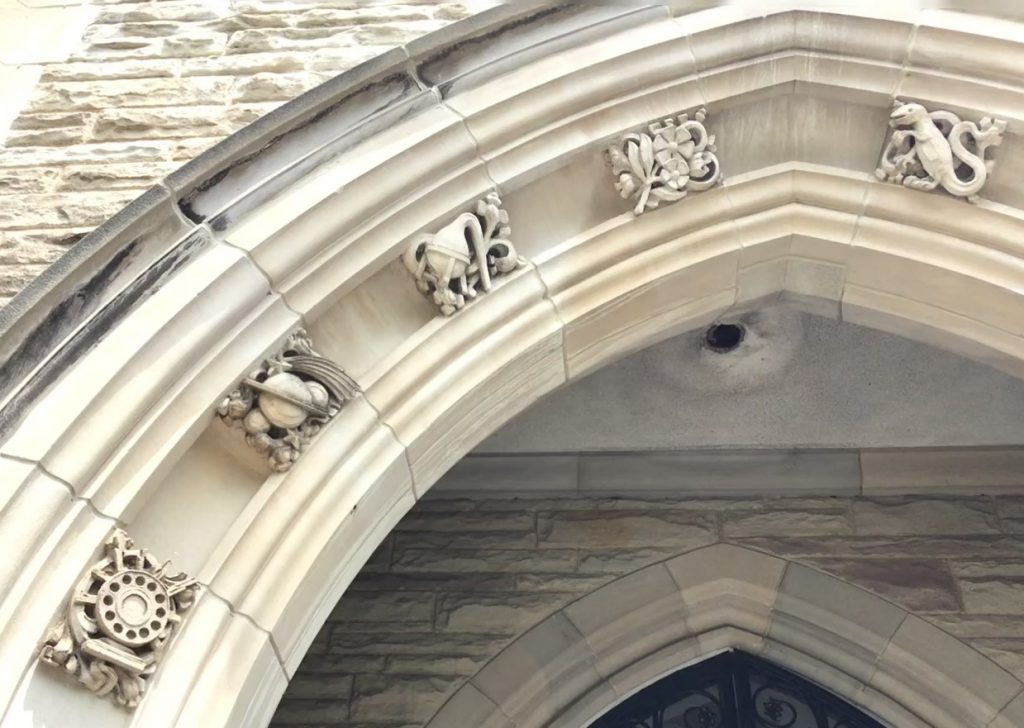 stone carvings at Hamilton Hall, McMaster University