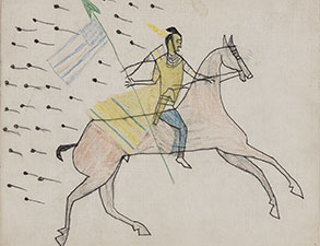 Drawing of figure riding horse