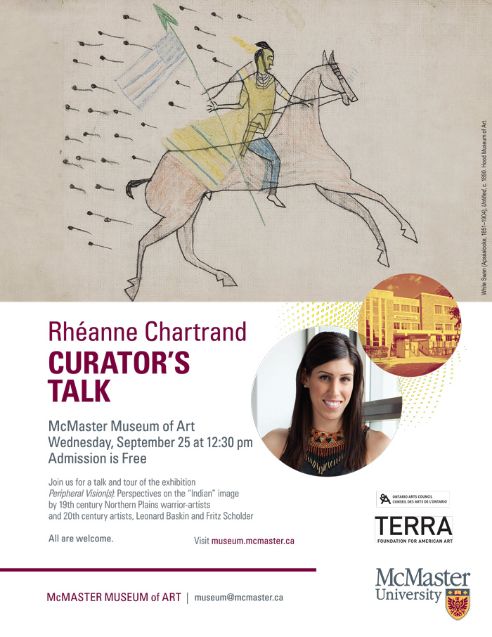 Poster for Curator's Talk by Rheanne Chartrand Sept 25