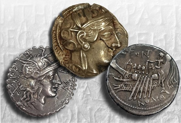 From left: Roman Republic silver Denarius of C. Poblicius Malleolus, 118 BCE, Purchase, 1946; Athenian silver tetradrachm, after 449 BCE. Gift of B.R. Brace, 1995; Roman Republic silver Denarius of C. Fonteius, 114 BCE. Gift of Dr. A.G. McKay, 2004