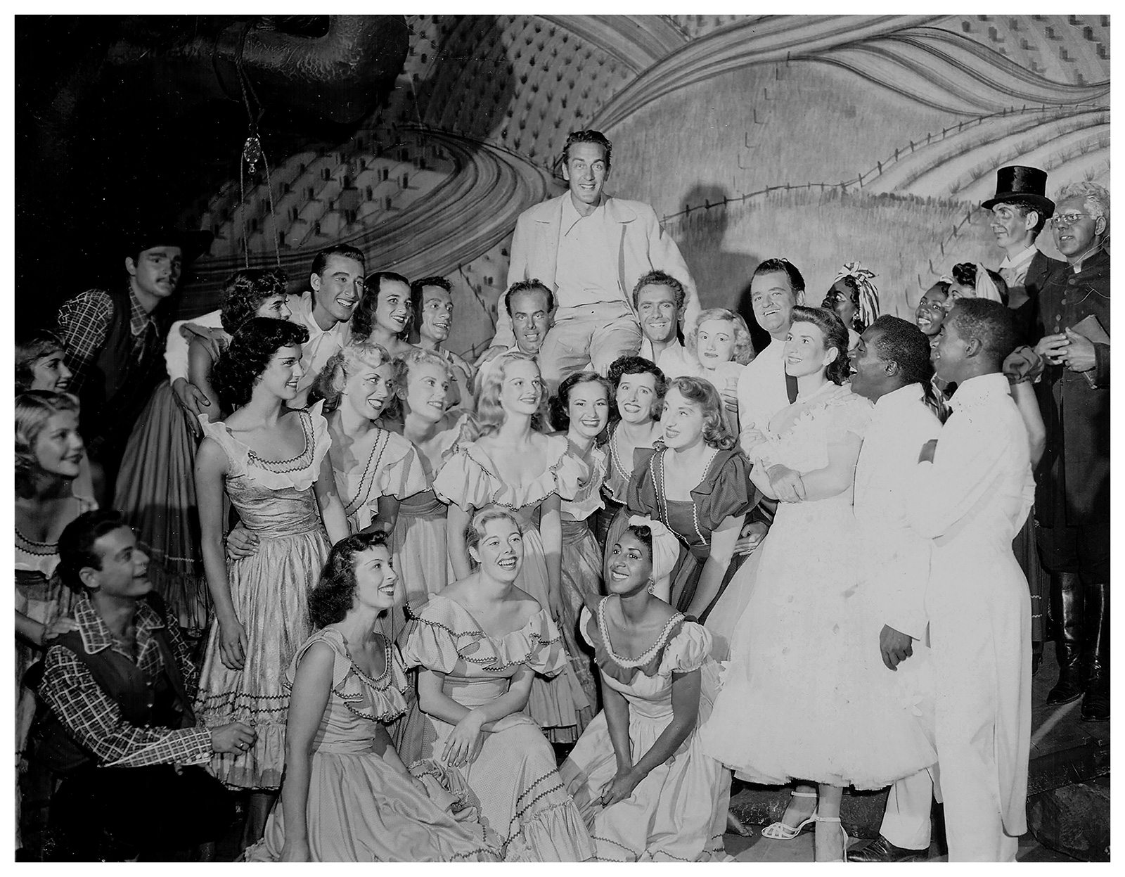 Deanna Bowen, Theatre Under the Stars' cast photo from Finian's Rainbow, circa 1953, 2019, archival inkjet print on cotton rag, paper, 22.5 x 18.5 inches. Courtesy the artist, Theatre Under the Stars and Cecilia and Roger Smith