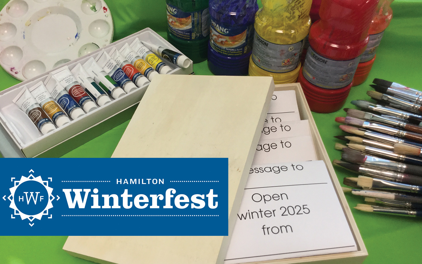 Wnterfest graphic with art supplies