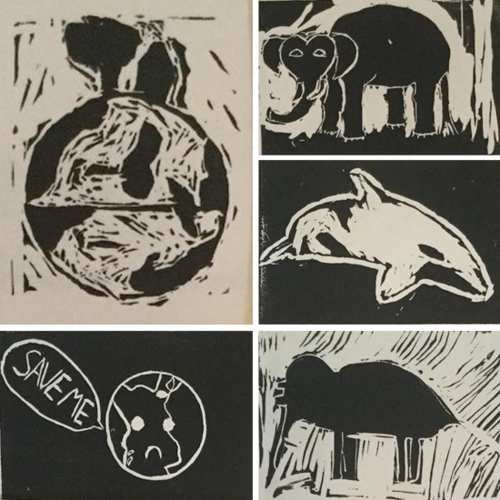 Woodblock prints by Hess St School students