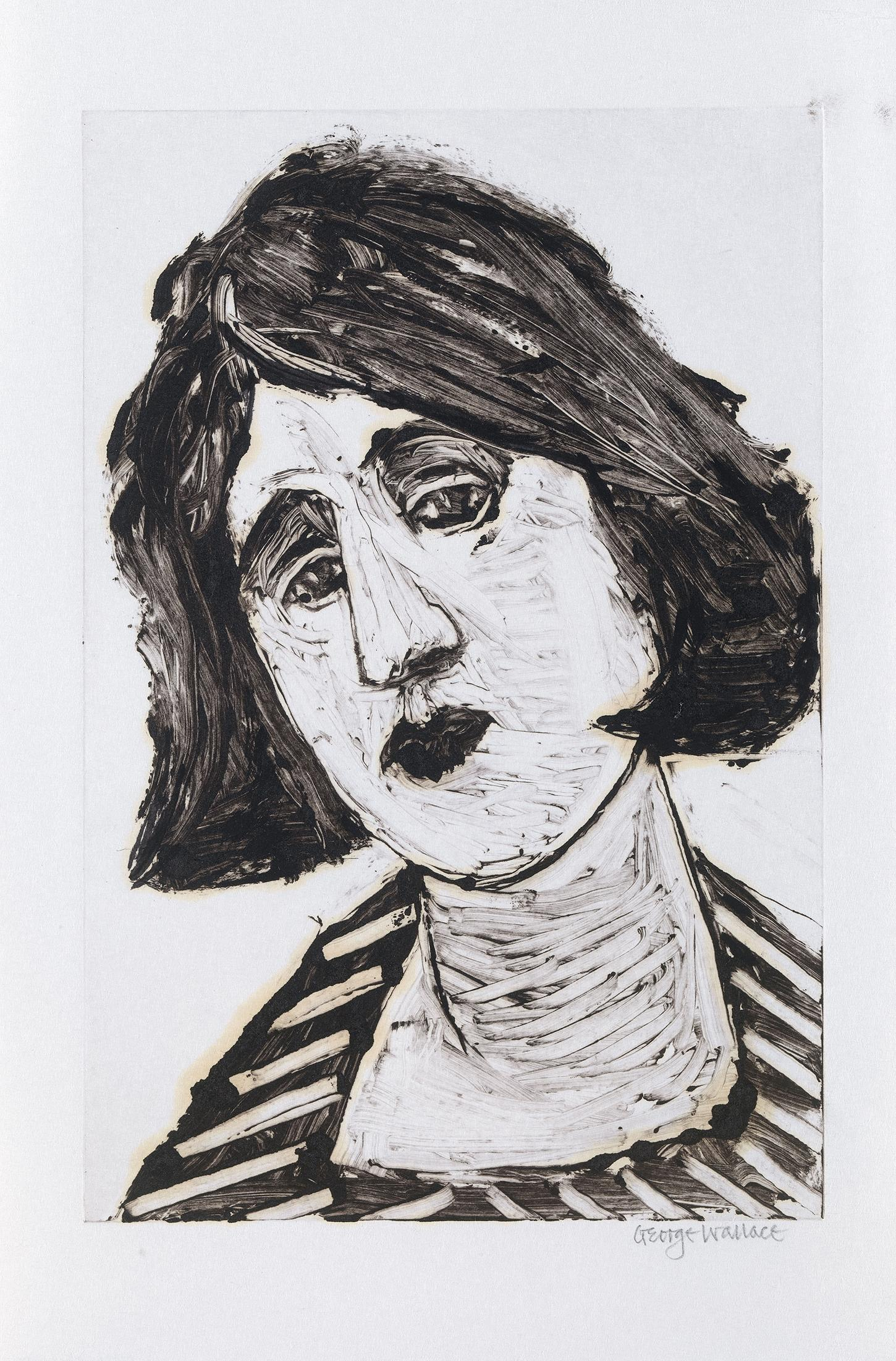 Head of a woman in George Wallace print
