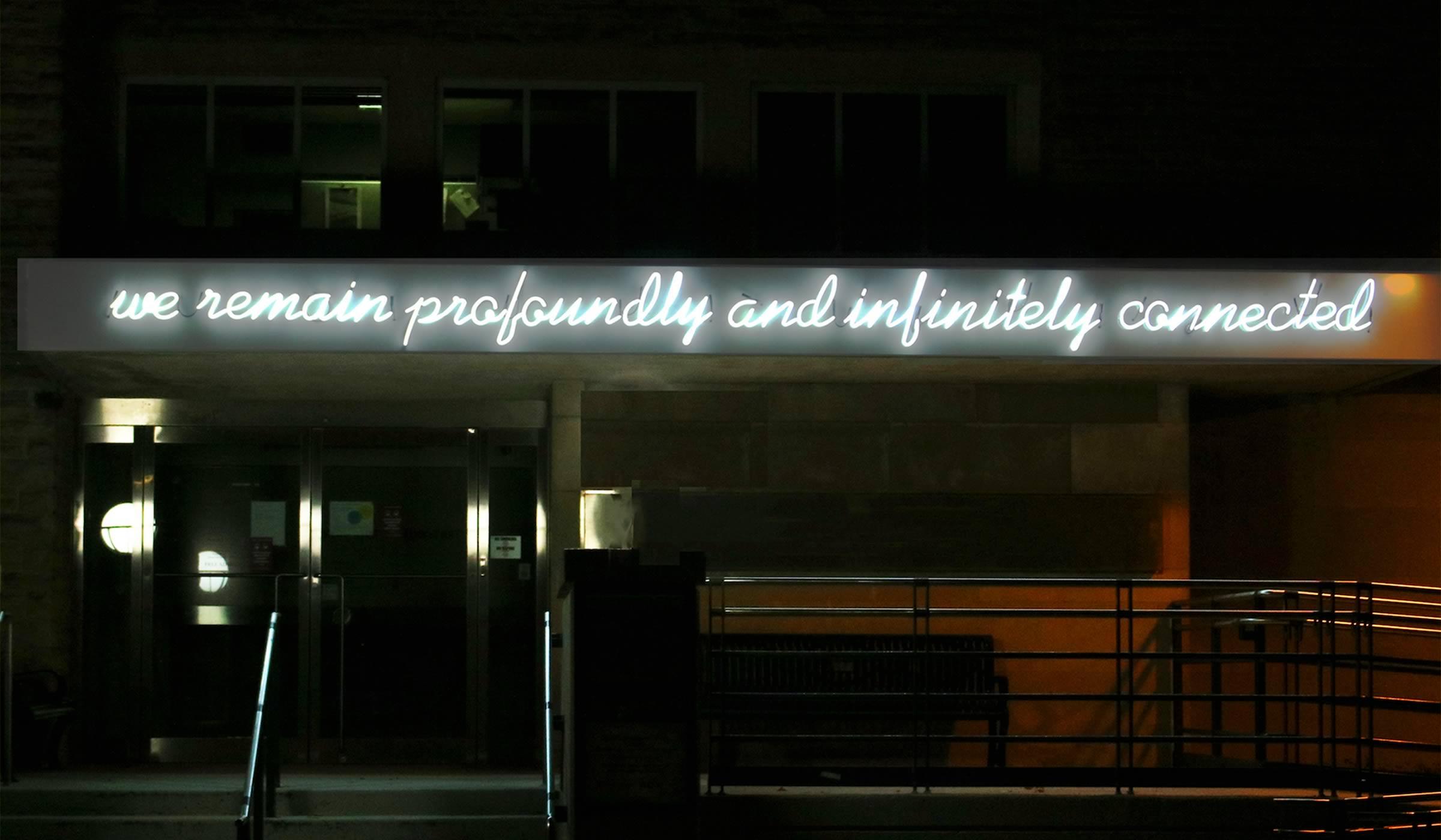 Detail of Hiba Abdallah's neon installation