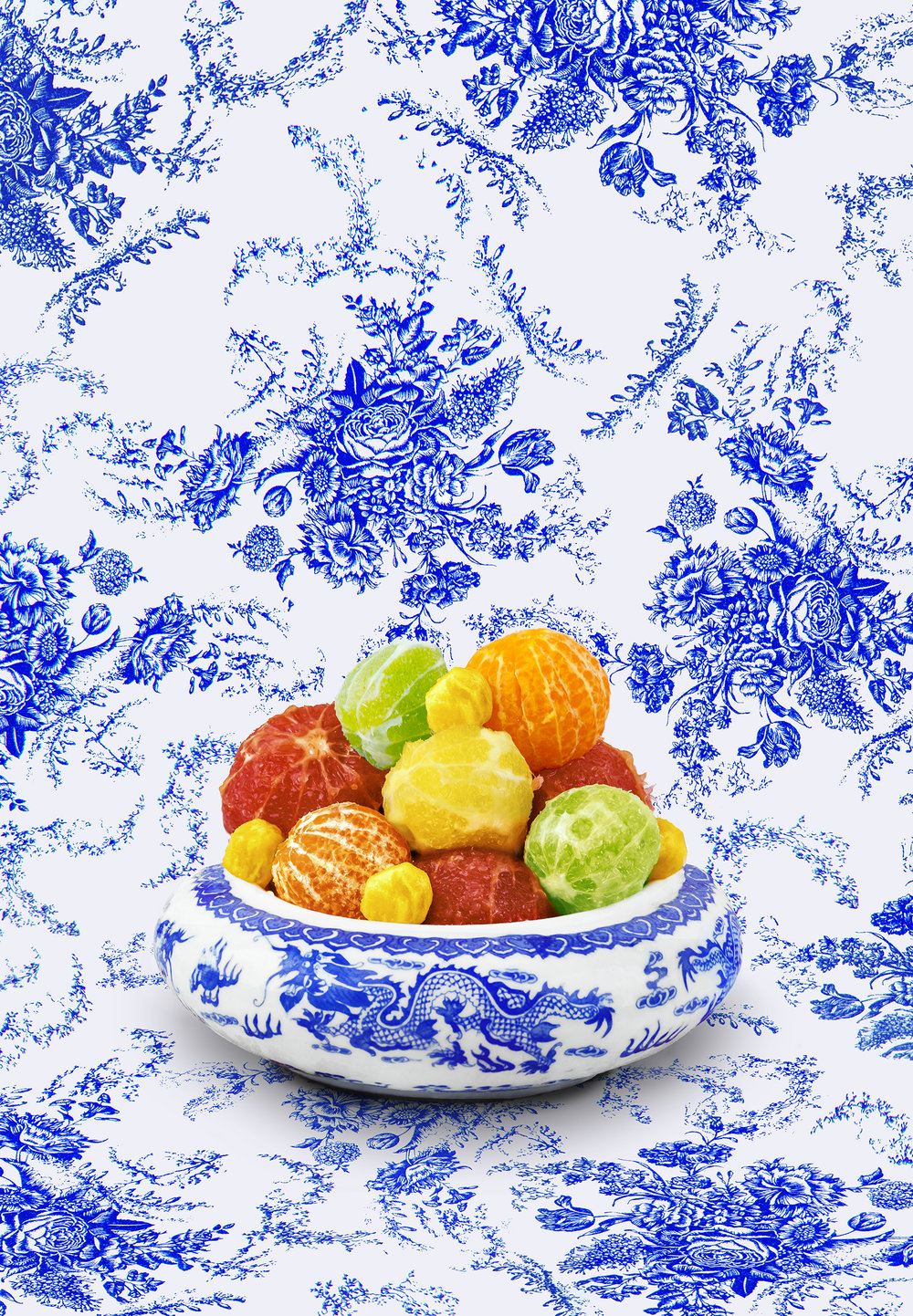 Art by Shellie Zhang - a bowl of peeled citrus against a blue and white patterned background