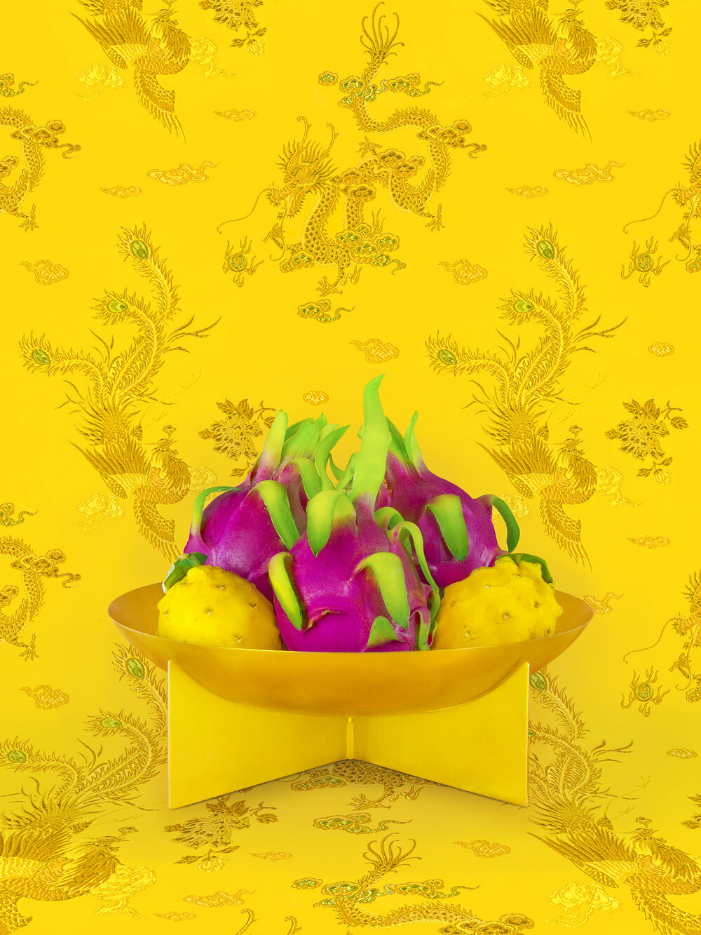 Art by Shellie Zhang - a bowl of pink dragon fruit against a yellow background