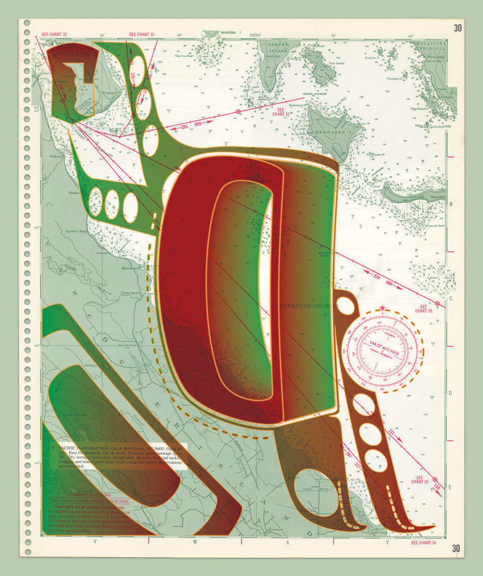 Art by Sonny Assu - abstract green and red shapes in front of a map