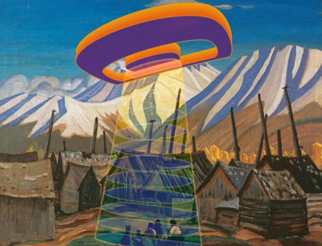 Art by Sonny Assu - an orange and purple UFO floats above a village in the mountains