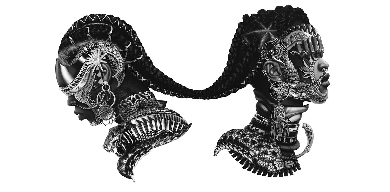 Black and white image of two Black person's head adorned with metal armour and jewelry, connected via a tied braid