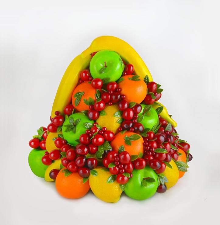 Art by Shellie Zhang - a cornucopia of fruit in red, yellow, orange