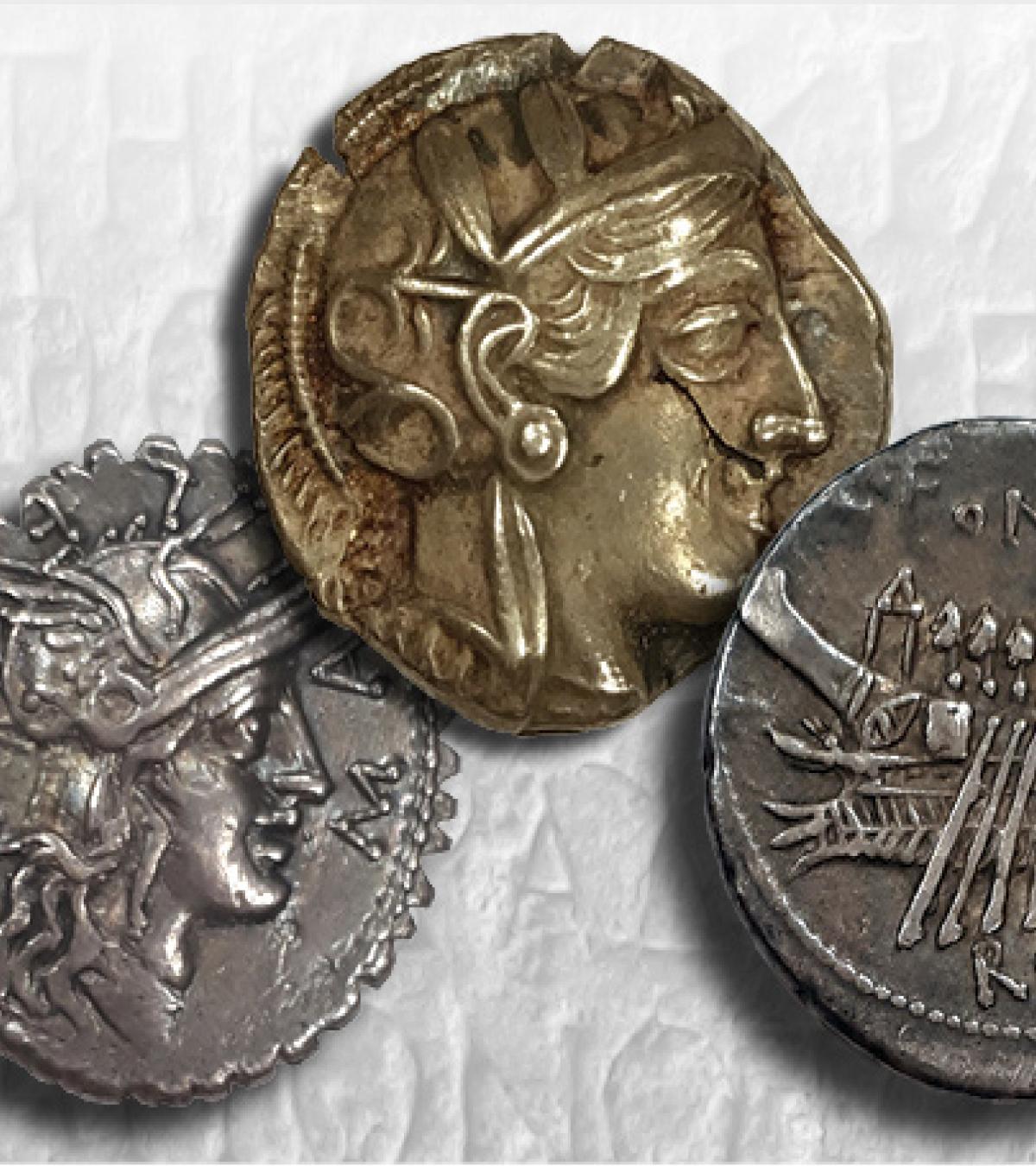 From left: Roman Republic silver Denarius of C. Poblicius Malleolus, 118 BCE, Purchase, 1946; Athenian silver tetradrachm, after 449 BCE. Gift of B.R. Brace, 1995; Roman Republic silver Denarius of C. Fonteius, 114 BCE. Gift of Dr. A.G. McKay, 2004