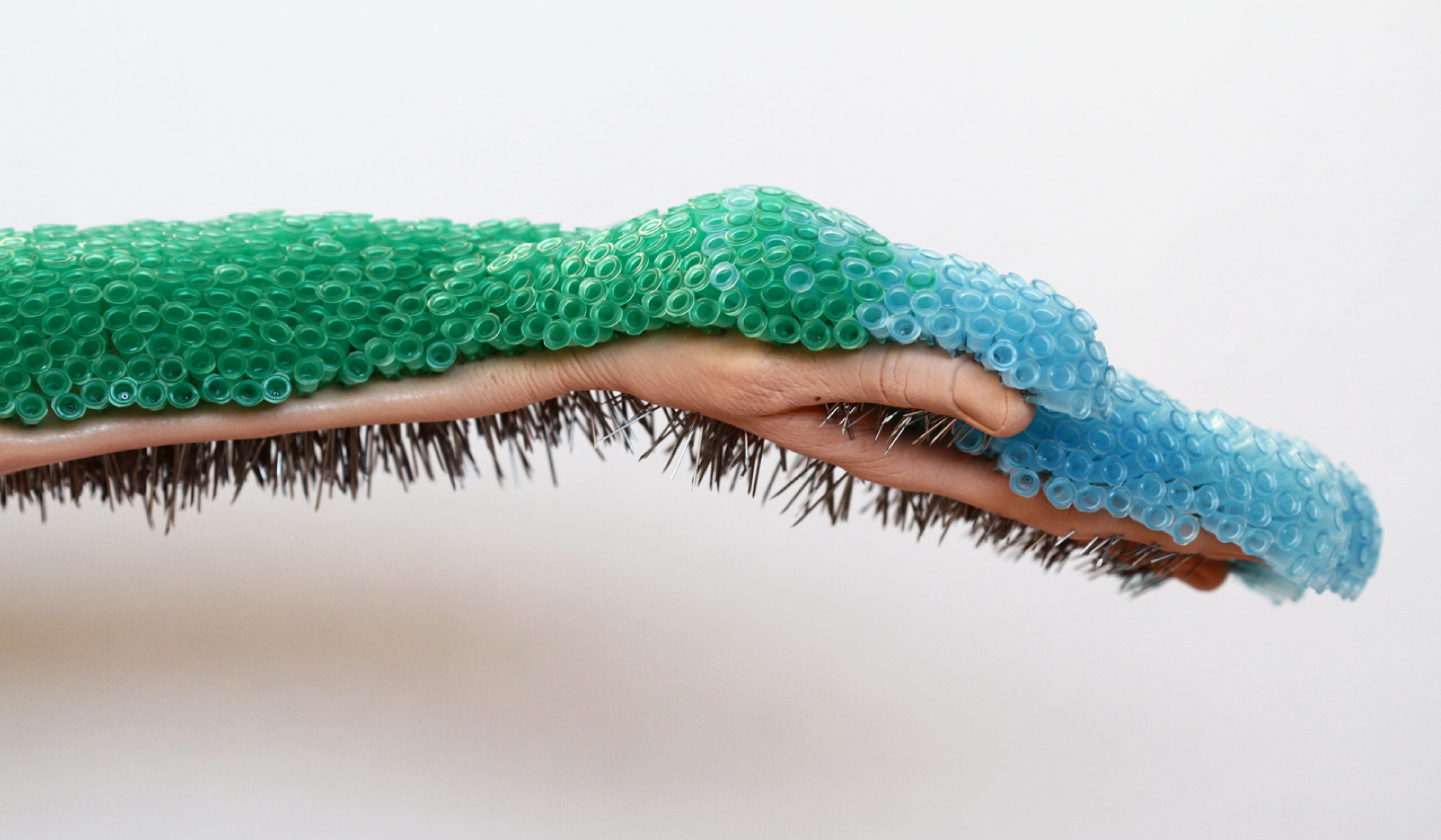 Hand extended horizontally across a plain background, holding hundreds of green and blue needles